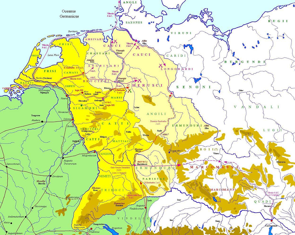 Germanische Stämme Karte.Römer In Germanien